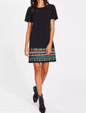 Aztec Hem Dress Black C
