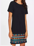 Aztec Hem Dress Black E