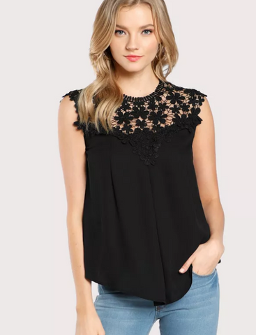 Black Casual Wear Blouse with Lace Top