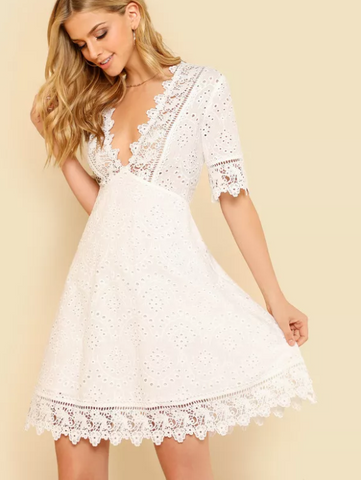 Lace Trim Embroidered White Dress A