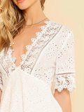 Lace Trim Embroidered White Dress D