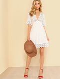 Lace Trim Embroidered White Dress E