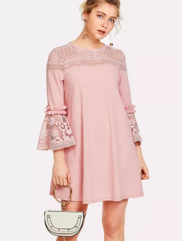 Matt's Expo Crochet Lace Dress Butterfly Sleeve Dress Elegant Ruffle Dress A