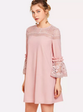 Matt's Expo Crochet Lace Dress Butterfly Sleeve Dress Elegant Ruffle Dress B