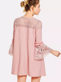 Matt's Expo Crochet Lace Dress Butterfly Sleeve Dress Elegant Ruffle Dress D