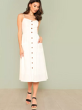Matt's Expo White Button Up Dress White Pocket Patch Dress A