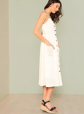 Matt's Expo White Button Up Dress White Pocket Patch Dress C