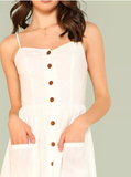 Matt's Expo White Button Up Dress White Pocket Patch Dress D