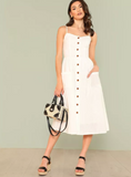 Matt's Expo White Button Up Dress White Pocket Patch Dress E