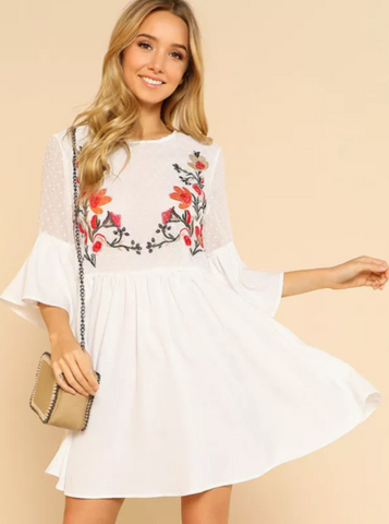 Matt's Expo White Ruffle Flower Short Dress Embroidered White Smock Dress A