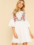 Matt's Expo White Ruffle Flower Short Dress Embroidered White Smock Dress B