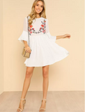 Matt's Expo White Ruffle Flower Short Dress Embroidered White Smock Dress F