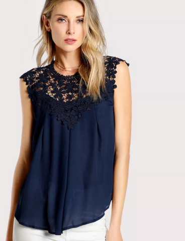 Matt's Expo Navy Blue Daisy Sleeveless Lace Shoulder Blouse