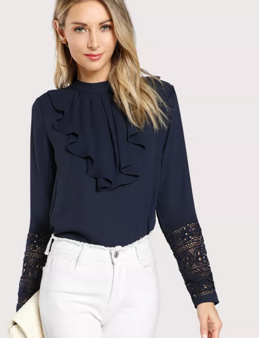 Navy Blue Formal or Party Wear Blouse with Ruffle Front