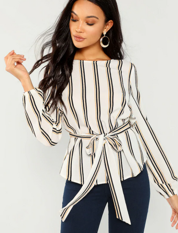 Striped Long Sleeve Office Wear