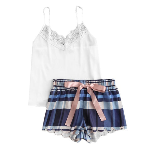 White Top and Striped Shorts Nightwear Set