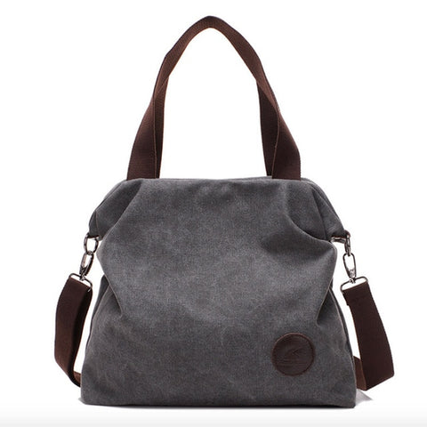 Zipper Closure Canvas Tote Bag