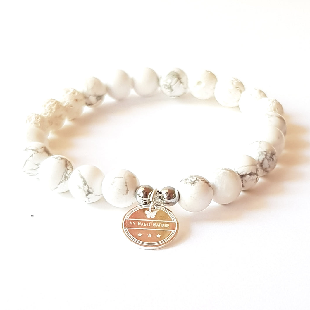 NEW LINE! Essential Oil Diffuser Bracelet, White Howlite