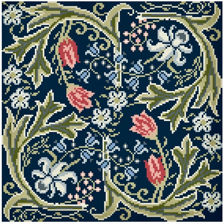 William Morris | Stickvorlage | Stickpackung