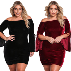 Off Shoulder Bell Sleeve Velvet Dress