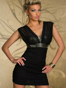 Black Mini Dress with Gold Glitter Bodice.