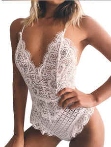 Eyelash Lace Sheer Bodysuit.