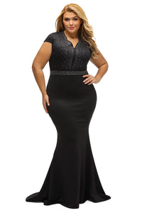Black Rhinestone Formal Gown