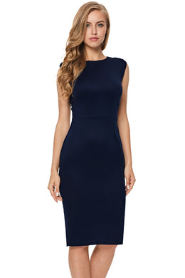 Midnight Blue Formal Midi Dress