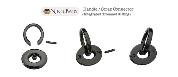Integrated grommet and ring 3/4 inch strap connector