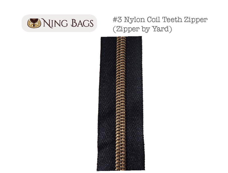 #3 Metallic Nylon Coil Zippers in Black Tape (NO PULLS)