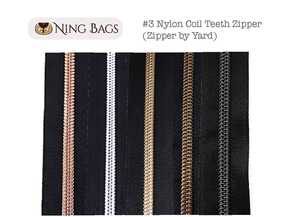 #3 Metallic Nylon Coil Zipper by the yard