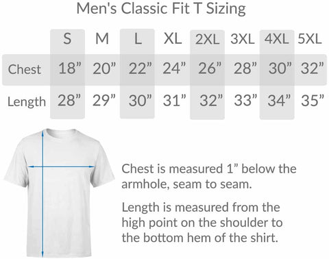BlueRaven mens classic fit tee size chart