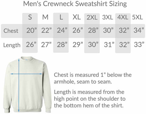 BlueRaven mens crew neck sweatshirt size chart graphic t-shirts tees