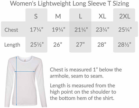 BlueRaven Womens Long Sleeve Tee Size Chart
