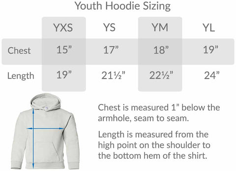 BlueRaven Youth Hoodie size chart graphic hoodie cool tees cotton