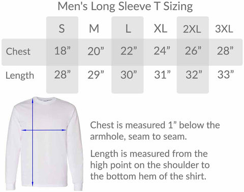 BlueRaven mens long sleeve tee size chart