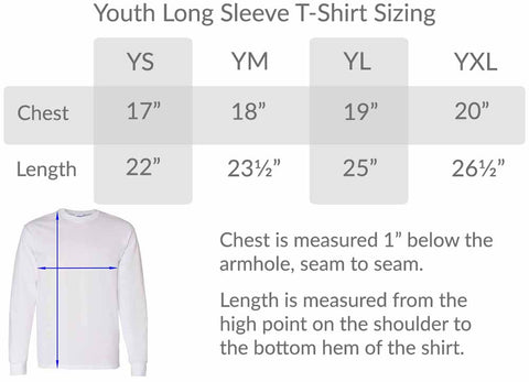 youth t-shirt size chart BlueRaven Tees t-shirt graphic tee cool kids