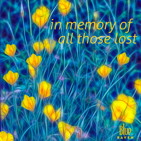 On a bed of blue stems and grasses, yellow buttercups wave in the wind.. blog post at BlueRaven tees