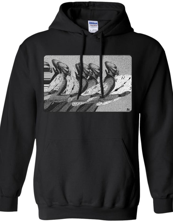 Time Marching On - B&W - Adult Hoodie