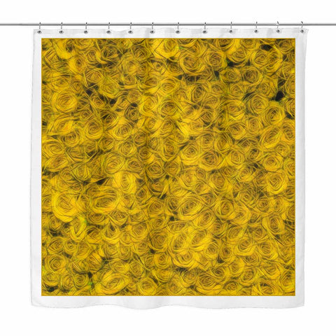 Raining Roses Yellow - shower curtain