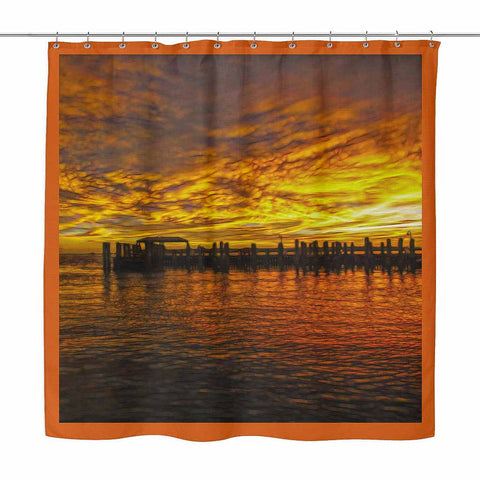 Sunset Pier - shower curtain