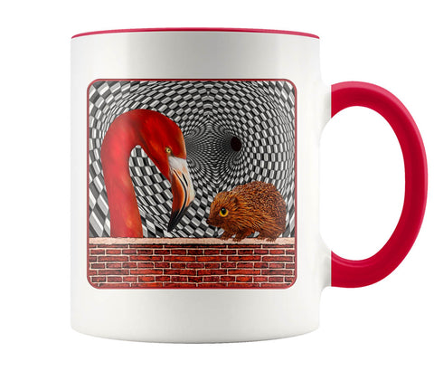 The Hedgehog And The Flamingo - 11 oz color accent mug