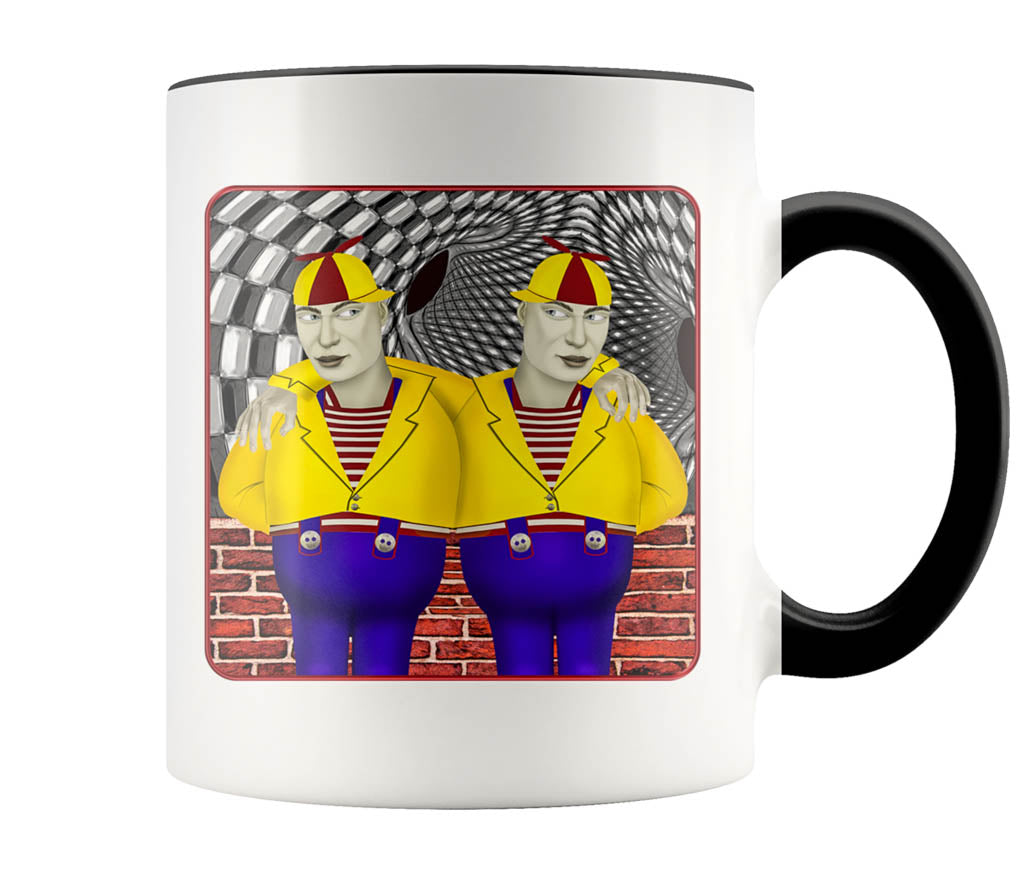Portrait Of Tweedledee And Dum - 11 oz color accent mug