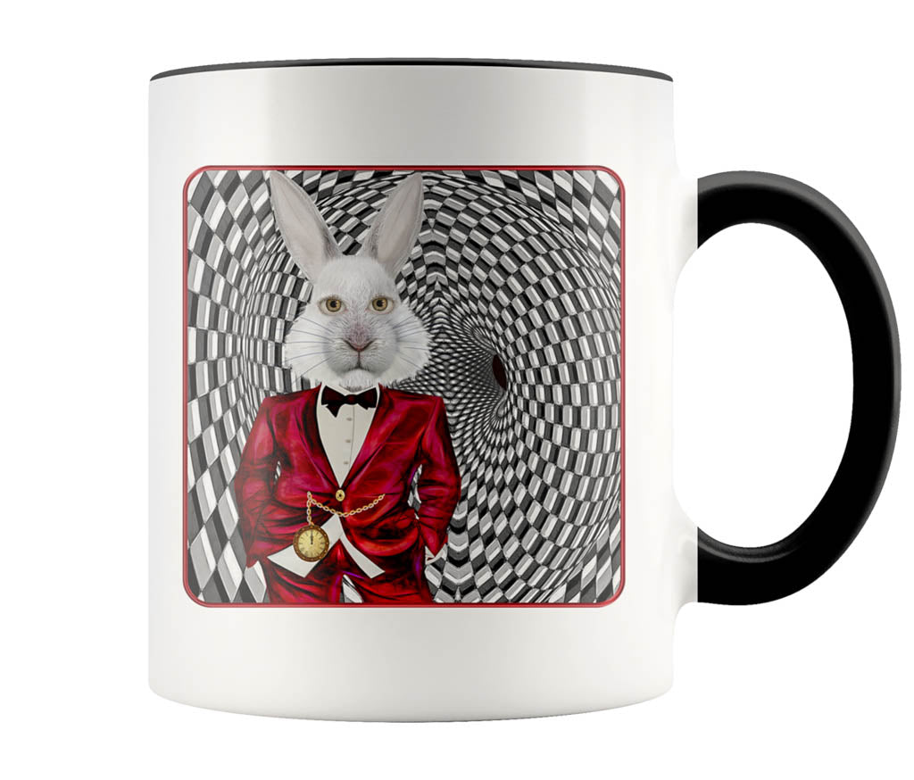 Portrait Of The White Rabbit - 11 oz color accent mug