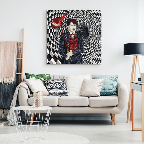 portrait of a mad hatter - canvas art print