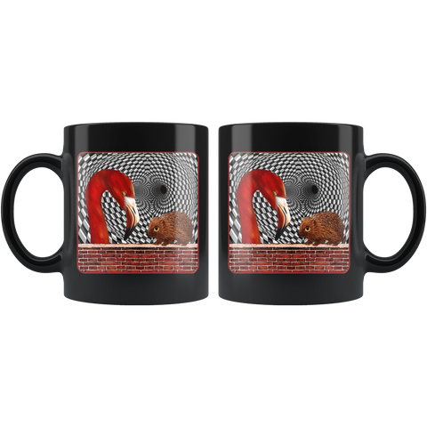 The Hedgehog and the Flamingo - 11 oz black mug