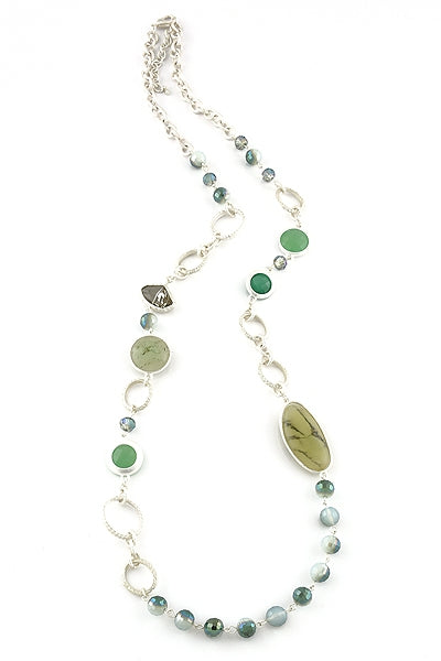 Green and Silver Long Necklace 24423
