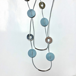 Light Blue Leather Necklace
