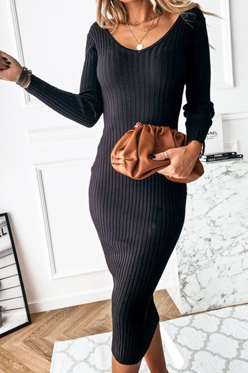 V-Neck Body-Con Ribbed Knitted Dress
