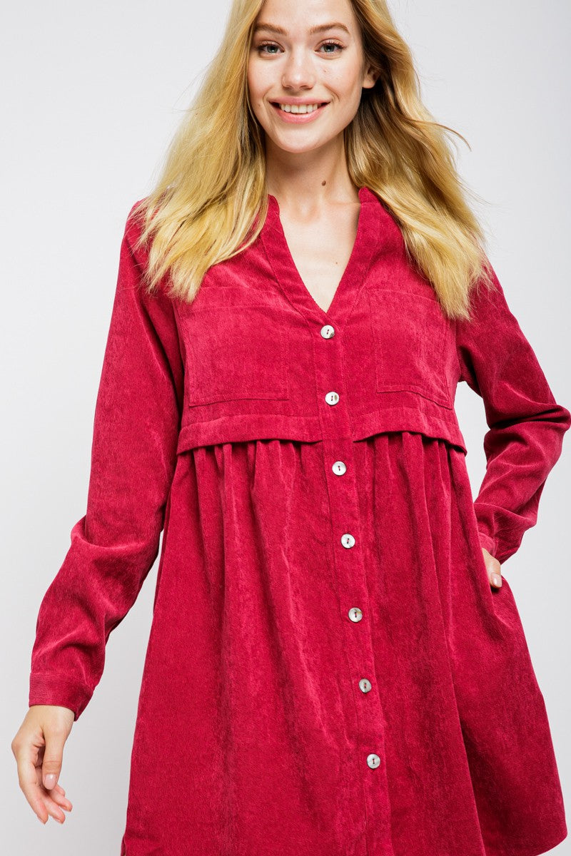 RASPBERRY CORDUROY DRESS